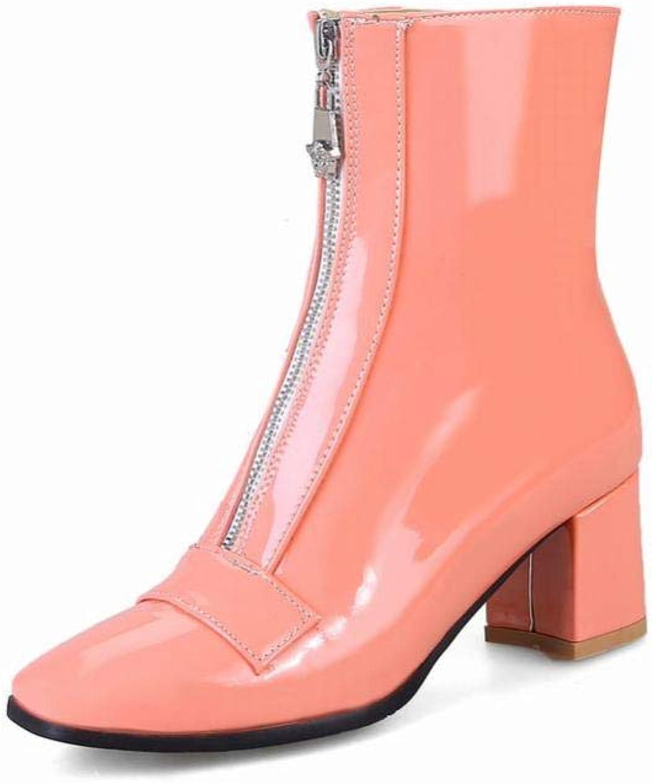 IG Damenschuhe - Britische High Heel Stiefel Stiefel Stiefel Reißverschluss Stiefel Dick Mit Warmen Stiefeln 34-44,Rosa,38  2211a2