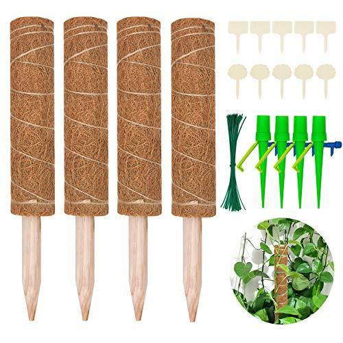 Halcyerdu 4 Stück 30 cm Kokosstab, mit 10 Pflanzenschilder, 50 Pflanzenbinder und 4 Automatisch Bewässerung, für Zimmerpflanzen, Pflanzstab Kokos Rankstab Rankhilfe Blumenstab