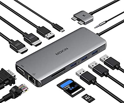 USB C MacBook Pro Docking Station Dual Monitor Adapter, 12 in 1 USB C Hub Adapter to Dual HDMI 4K 60Hz VGA Ethernet AUX 2USB 2.0+2USB 3.0 SD/TF Card Reader 100W PD Charging MacBook Pro Air Dongle