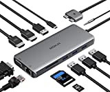 USB C MacBook Pro Docking Station Dual Monitor Adapter,12 in 1 USB C Hub Adapter to Dual HDMI 4K 60Hz VGA...