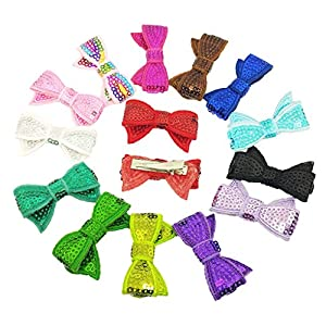PET SHOW 10 Pairs Bowknot Small Dogs Hair Bows with Alligator Clips Glitter Pet Medium Dog Puppies Cats Topknot Headdress Grooming Hair Accessories Party Costumes