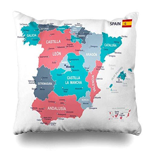 Gobierno Azul Aragón España Mapa Gris Ubicaciones Islas Baleares Barcelona Provincias Vascas Diseño Sofá Cama de Coche Funda de Almohada Decorativa Cuadrado 22 Pulgadas
