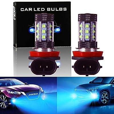 HOCOLO E Serices Ice Blue White 8000K 6000K Fog Light DRL-H7 H8 H1 H3 H4 9005 9006 880 881 5202 2504 LED Bulbs (E-H8 Fog/DRL, Ice Blue)