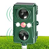 CrazyFire Ultrasonic Animal Repeller Pest Cat Fox Repellent, Solar Powered&USB Operated Waterproof Animal Repeller with 2 Speakers Rats Deer Bird Dog Scarer Deterrent for Garden Yard Field Farm