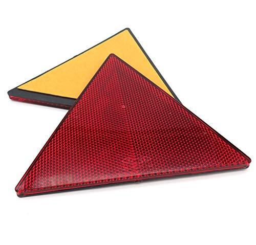 227s - Dreieckige Reflektoren - selbstklebend - geeignet für Anhänger & Wohnwagen - Rot - 2 Stück