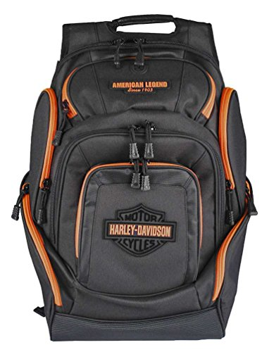 Harley-Davidson Neon Orange Bar & Shield Deluxe Backpack, Black BP2000S-ORGBLK