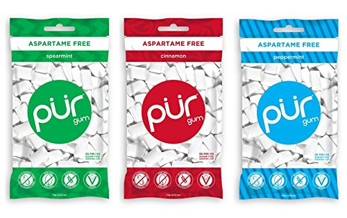 PUR Gum 3 Flavor Assortment Spearmint, Cinnamon, Peppermint, (Pack Of 3)