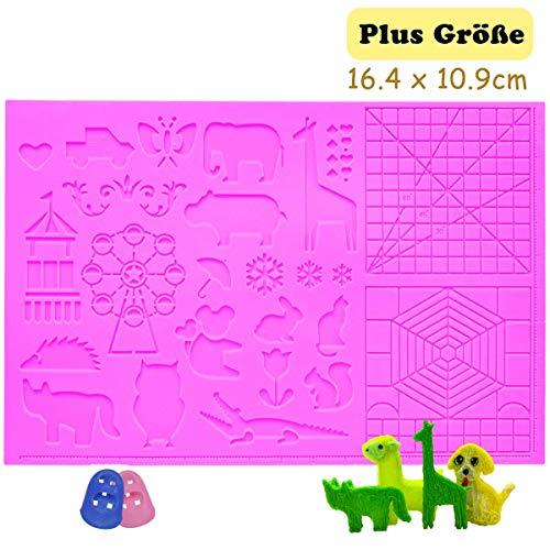 3D Stifte Matte,die große Matte (41,5 x 27,5 cm) mit Tiermuster hilfreich für Anfänger, Kinder und 3D-Stiftkünstler,mit 2 Finger Stall,Pink