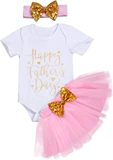 Father's Day Baby Girls Dress Newborn Girl Happy 1st Father's Day Bodysuit Romper+Headband+Skirt Outfit Set