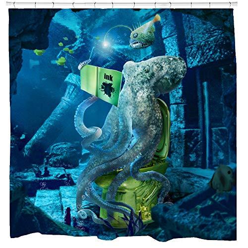 Sharp Shirter Funny Octopus Duschvorhang-Set, lustige Kraken auf Toilette mit Fisch, 71 x 74 cm, Blau Polyester Stoffhaken enthalten