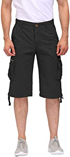 Men's Cotton Cargo Shorts 3/4 Relaxed Fit Below Knee...