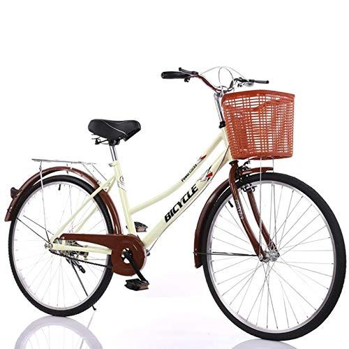 GOLDGOD Gemütlich Mädchen-Citybike Kohlenstoffstahlrahmen Cruiser Bikes Mit Korb Und Doppelbremse Aluminiumräder Damenfahrrad Zum Pendeln Und Reiten Im Freien,Beige,26 inch