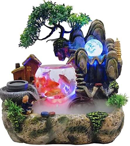 Fuente para habitaciones, jardín de piedras, acuario, salón, escritorio, bonsáis, ornamentos, decoración interior, resina artesanal (aprox. 30 x 20 x 36 cm) adecuada para salón, oficina