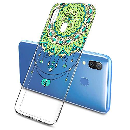 Suhctup Funda Compatible con Samsung Galaxy A20E,Carcasa Protectora de Silicona Transparente TPU Bumper con Floral Diseño,Ultra Fina Anti-Choques y Anti-Arañazos Resistente Case,Negra Roja