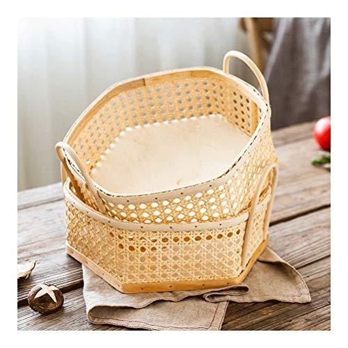 Storage Panier Pique-Nique Snack Votre Panier Fruit Basket Bread Basket-Tissés à la Main, des matériaux naturels, Coffre-Fort et à la Mode (Couleur : Natural, Taille : *2)