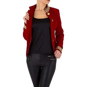 Ital Design Samt Uniform Blazer Jacke Für Damen, Rot In Gr