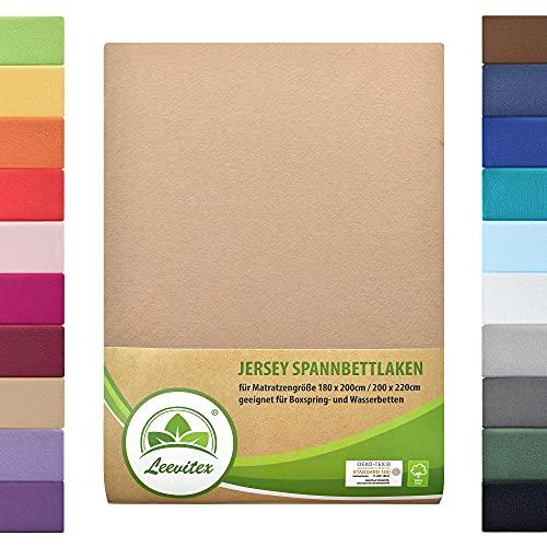 leevitex Colours SPANNBETTLAKEN | WASSERBETTEN & BOXSPRINGBETT | SPANNBETTUCH | ÖKO-TEX | 180x200 – 200x220 cm | 100% Jersey-Baumwolle | 150 g/m² | 40 cm Steg |Sand/Cappuccino