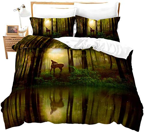 Bxooaceo Bedding Set for Girls Bedroom Decor Twin Quilt Duvet Cover Set Single Bed Sheet Baby Kids Home Children linens 3D Single size 135 x 200 cm + 2 Pillowcase Forest trees lake water animals elk
