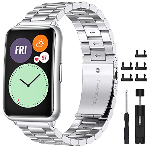 CAVN Cinturino Compatibili Huawei Watch Fit, Cinturino Huawei Watch in Metallo in Acciaio Inossidabile con Robusta Chiusura Pieghevole Huawei Watch Fit Cinturino Bracciali da Uomo e da Donna((Argento)