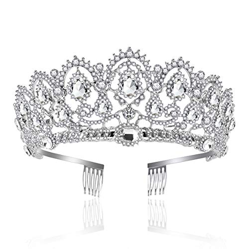 Price comparison product image Crown,  Tiara,  YallFF Prom Queen Crown Quinceanera Pageant Crowns Princess Crown Rhinestone Crystal Bridal Crowns Tiaras for Women