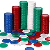 Skylety 400 Pieces Plastic Poker Chips 4 Colors Poker Card for Kids Game Play Learning Math Counting Bingo Game Blank Chips Card for Kids Reward (Red, White, Blue and Green)