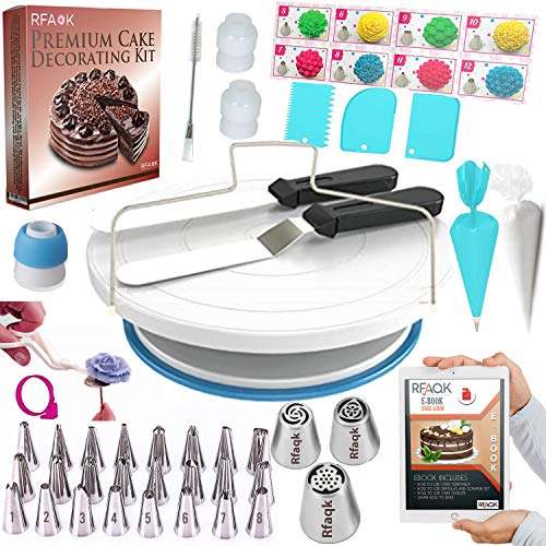 90 PCs Cake Decorating Supplies Kit for Beginners-1 Turntable stand-24 Numbered icing tips with pattern chart & E.Book-1 Cake Leveler-Straight & Angled Spatula-3 Russian Piping nozzles-Baking tools