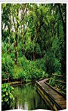 ABAKUHAUS Dschungel Schmaler Duschvorhang, Wild Exotischer Waldpier, Badezimmer Deko Set aus Stoff mit Haken, 120 x 180 cm, Mehrfarbig