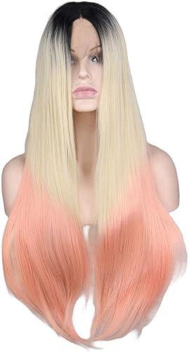 FELICIOO 28 Ombre Dentelle Avant Perruque Long Stright Cheveux Perruques avec Parcravate Centrale Cosplay Costume Quotidien Perruque De Fête pour Les Femmes avec De Vrais Cheveux