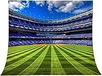 X-サッカーフィールドの背景写真9x6FT緑の芝生ピッチ青い空背景写真ブーススタジオProps521