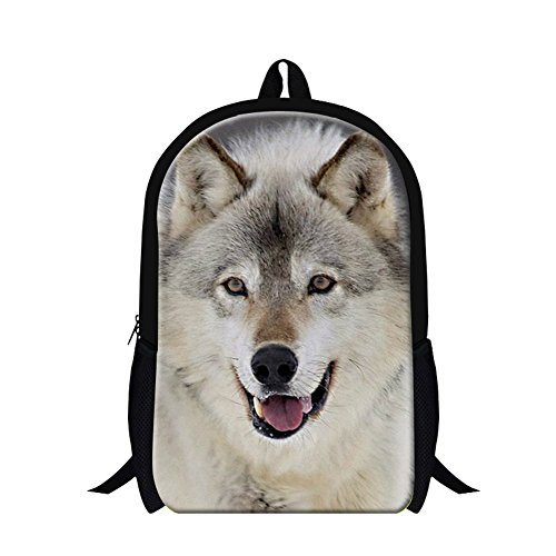 GIVE ME BAG Generic Childrens Cool Traveling Backpack Wolf Bookbags for School