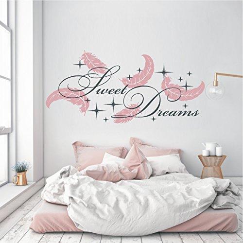 HomeTattoo ® WANDTATTOO Wandaufkleber 2 farbig Sweet Dreams Federn Sterne Schlafzimmer 769 XL ( L x B ) ca.65 x 140 cm, Schrift schwarz / Federn (hellpink 426)