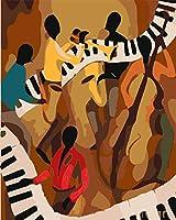 番号でペイント 抽象ピアノ演奏 - 油絵 数字キット塗り絵 大人 子ども 塗り絵 DIY絵 デジタル油絵 手塗り 数字キットによる絵画 絵かき インテリア 壁飾り ホームデコレーション 40x50cm(フレーム付き)