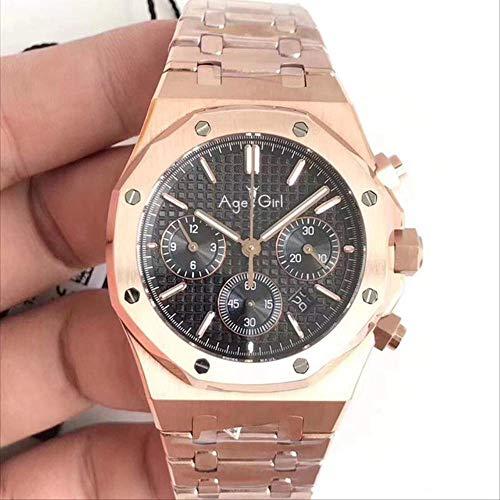 DMZZYGJR Luxury Herren Silber Blau Uhr Chronograph Saphir Edelstahl Rotgold Eichen Stoppuhr Luminous Black Royal Watch Rotgold Schwarz