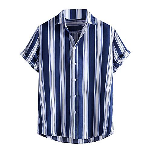Camisa hawaiana para hombre, camisa de playa hawaiana de manga corta, camisa de verano fresca, camisas de vacaciones, corte ajustado, cuello de camisa C_azul. S