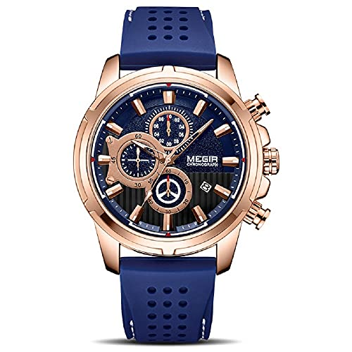 Nuevo deporte cronógrafo silicona para hombre marca superior lujo cuarzo reloj impermeable gran dial reloj, azul,