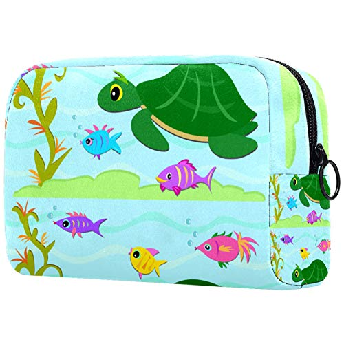 Gifts for Men Women Makeup Bag Toiletry Pouch Small Cosmetic Bag - Turtle Fish Friends