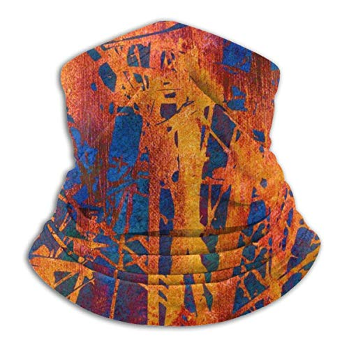 ASDAH Kunstbloemen Vintage Bright Oranje Goud Rood Blauw en Groen Fleece Nekwarmer Stormkap Capuchon