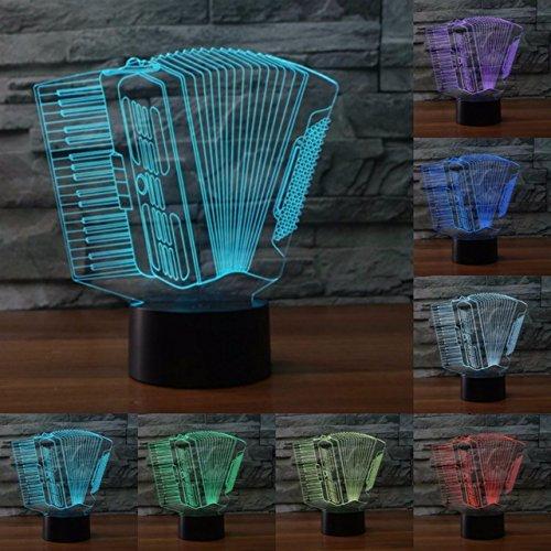 Jinson well 3D akkordeon Nachtlicht Lampe optische Nacht licht Illusion 7 Farbwechsel Touch Switch Tisch Schreibtisch Dekoration Lampen mit Acryl Flat Base USB Spielzeug