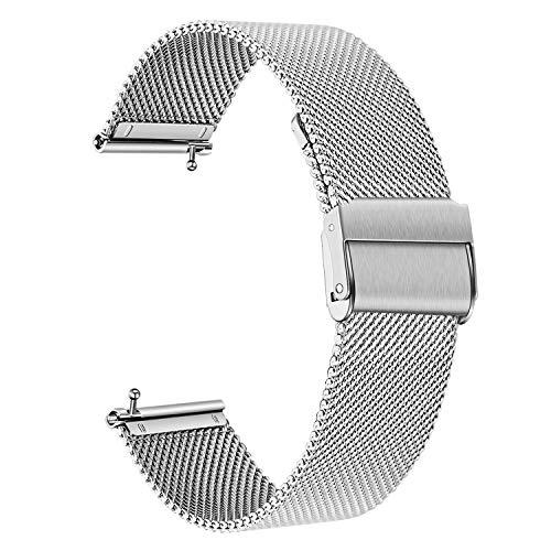 TRUMiRR Kompatibel mit Fitbit Versa/Versa 2 Armband, Mesh Gewebte Edelstahl Uhrenarmband Schnellspanner Metall Armband Business Sport Ersatzband für Fitbit Versa/Versa Lite/Versa Special Edition