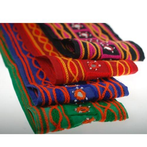 The Yard Neotrims Ruban indien brodé fait main en coton Effet tissu de chenille Décorations miroirs