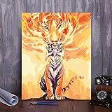 XIXISA Malen nach Zahlen Färben Ölgemälde Tier Tiger Rahmenlose selbstgemachte Dekoration...