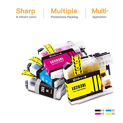 E-Z Ink(TM) Compatible Ink Cartridge Replacement for Brother LC203XL LC201XL LC203 LC201 to use with MFC-J480DW MFC-J880DW MFC-J4420DW MFC-J680DW MFC-J885DW (4 Black, 2 Cyan, 2 Magenta, 2 Yellow, 10 Pack)