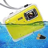 ISHARE Waterproof Kids Camera, Underwater 12MP 1080P Waterproof Digital Camera with 2' LCD, 8X Digital Zoom, Flash and Mic for Kids Girls Boys(Yellow & 2×Batteries)