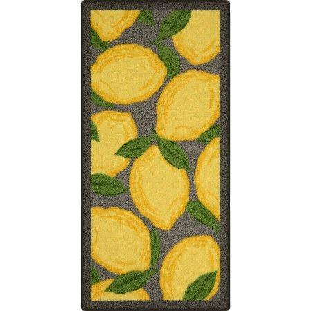 "Lemon Kitchen Rug with Latex backing, 1'8""x3'6"""