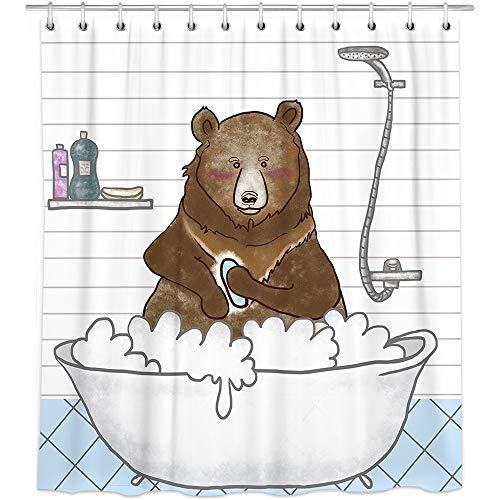 Bonsai Tree Cute Animal Fabric Shower Curtain,Waterproof Polyester Take a Shower Bear White Bath Curtain with Hooks,72'x72'
