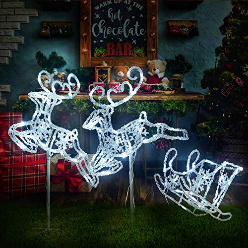 Light Up Christmas Double Reindeer and Sleigh Lawn Ornament,...
