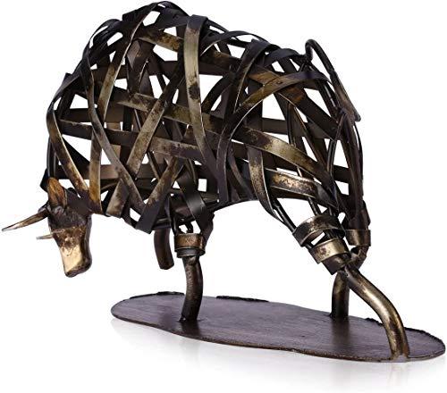 Bias&Belief Metal Wrought Iron Woven Cow Retro Creative Decoration Ornaments Home Crafts Office Desktop Ornaments,A