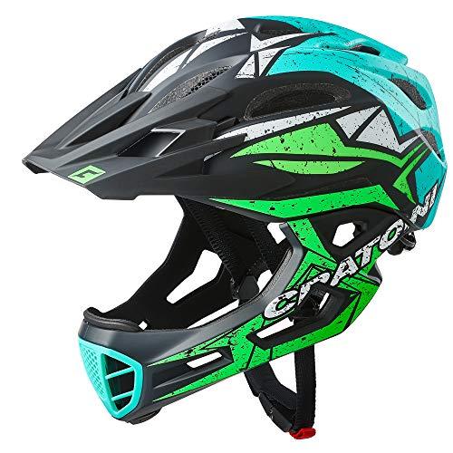 Cratoni C-Maniac Pro Fahrradhelm Downhill BMX Fullfacehelm Kinnbügel Mountainbikehelm (schwarz-grün-türkis, S-M (52-56 cm))