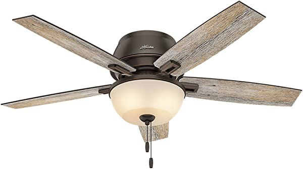 Hunter Indoor Low Profile Ceiling Fan With LED Light And Pull Chain Control Donegan 52 Inch Onyx Bengal 53342