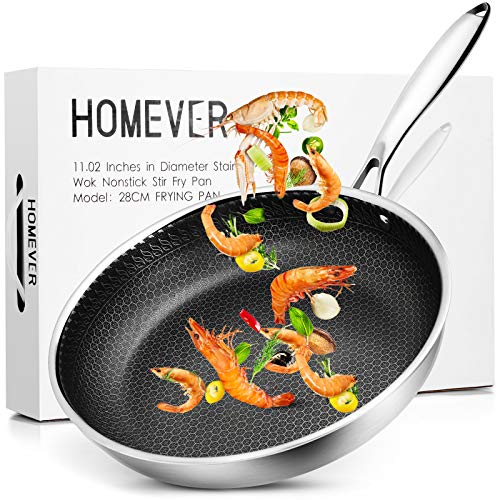 Homever Frying Pan, 11 inch Skillet, Tri Ply Wok with Honeycomb Coating / Titanium / 304 Stainless Steel, 2 1/2 Deep Heavy Duty Cookware, Suitable For Induction Cooktops, Oven & Dishwasher Safe